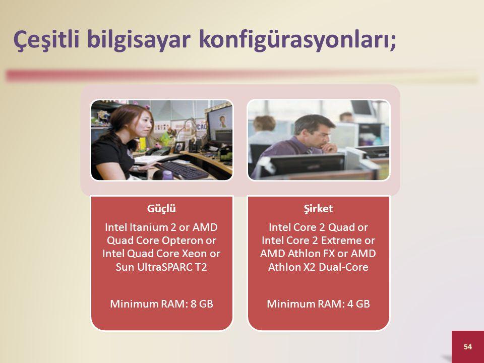 Çeşitli bilgisayar konfigürasyonları;