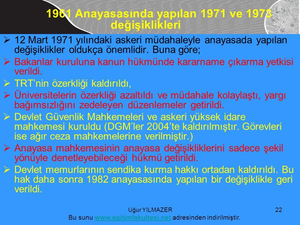 1961 Anayasasında yapılan 1971 ve 1973 değişiklikleri