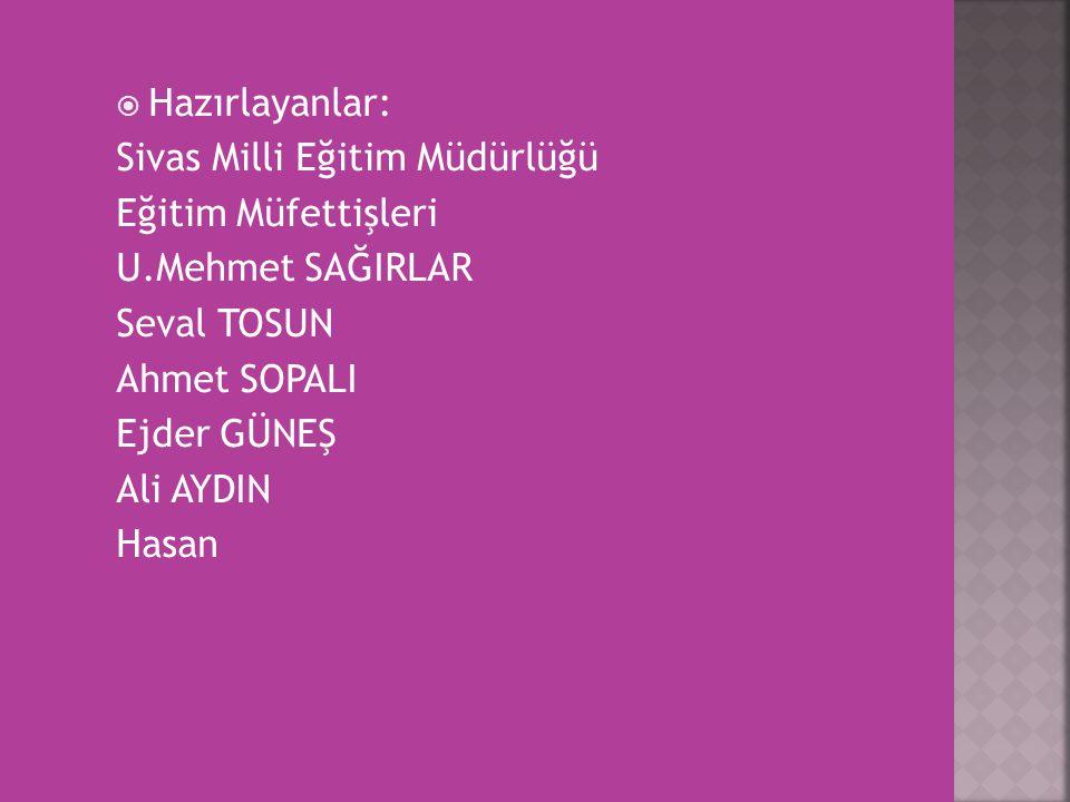 Hazırlayanlar: Sivas Milli Eğitim Müdürlüğü. Eğitim Müfettişleri. U.Mehmet SAĞIRLAR. Seval TOSUN.