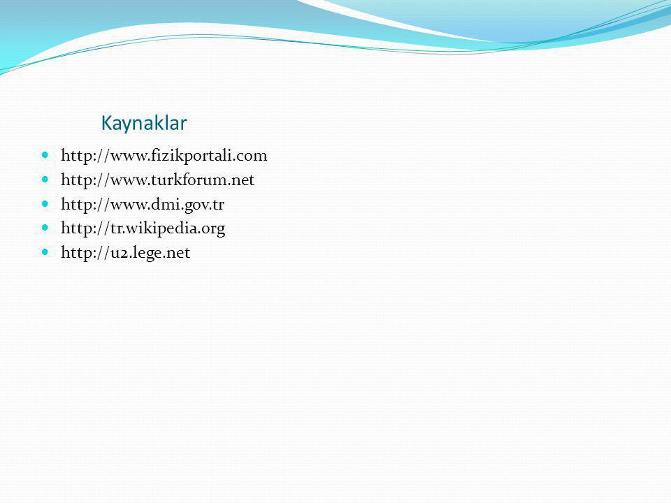 Kaynaklar http://www.fizikportali.com http://www.turkforum.net