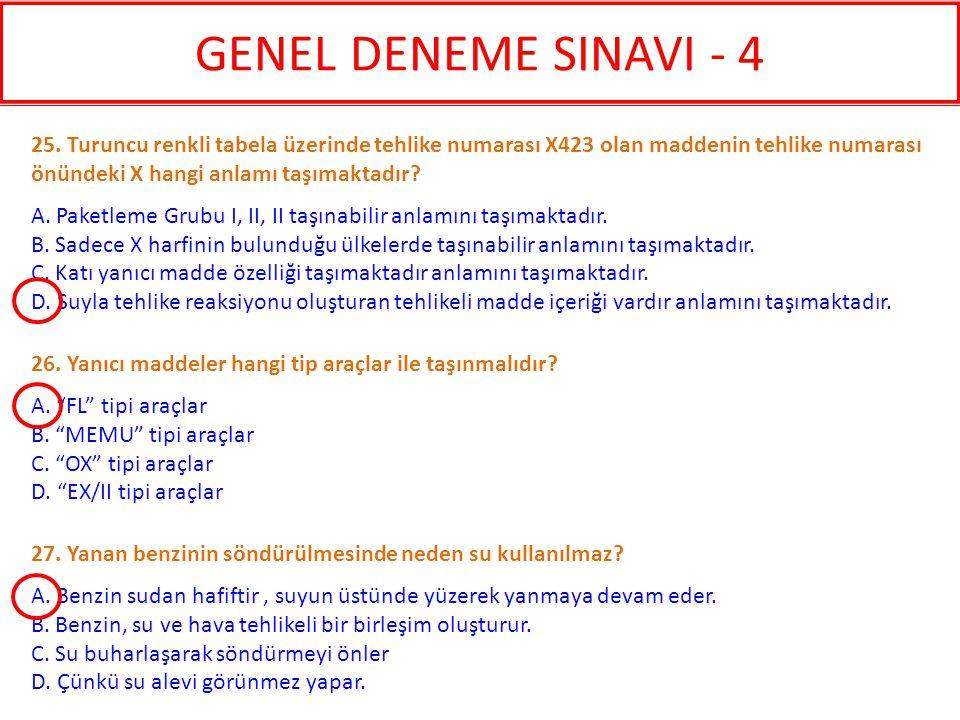 GENEL DENEME SINAVI - 4 25. Turuncu renkli tabela üzerinde tehlike numarası X423 olan maddenin tehlike numarası önündeki X hangi anlamı taşımaktadır