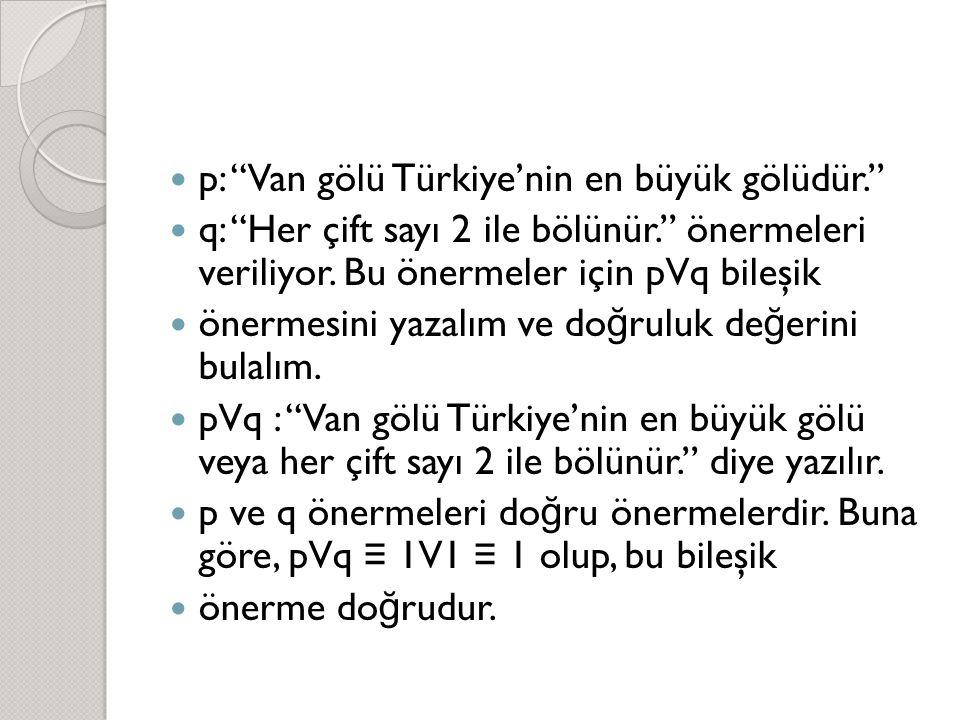 p: Van gölü Türkiye'nin en büyük gölüdür.
