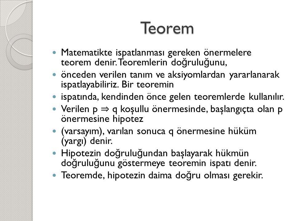 Teorem Matematikte ispatlanması gereken önermelere teorem denir. Teoremlerin doğruluğunu,