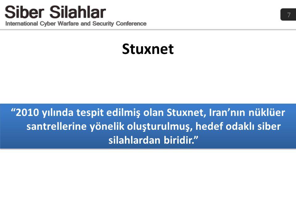 Stuxnet 2010 yılında tespit edilmiş olan Stuxnet, Iran'nın nüklüer santrellerine yönelik oluşturulmuş, hedef odaklı siber silahlardan biridir.