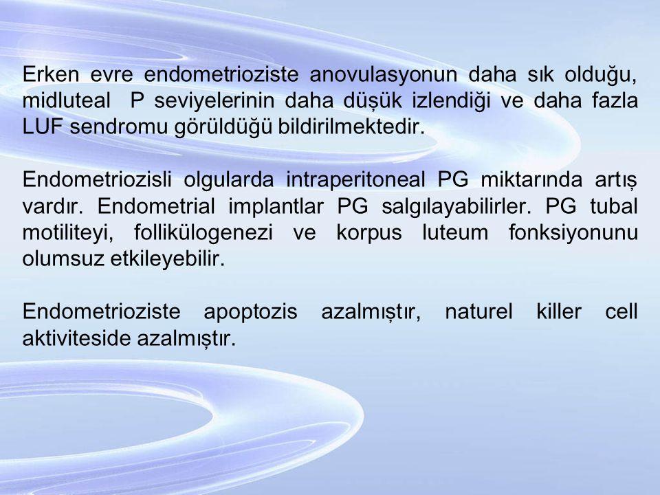 Erken evre endometrioziste anovulasyonun daha sık olduğu, midluteal P seviyelerinin daha düşük izlendiği ve daha fazla LUF sendromu görüldüğü bildirilmektedir.