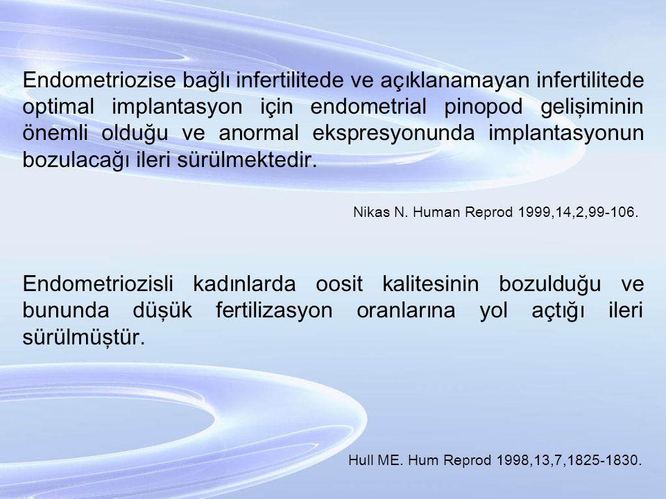Endometriozise bağlı infertilitede ve açıklanamayan infertilitede optimal implantasyon için endometrial pinopod gelişiminin önemli olduğu ve anormal ekspresyonunda implantasyonun bozulacağı ileri sürülmektedir.