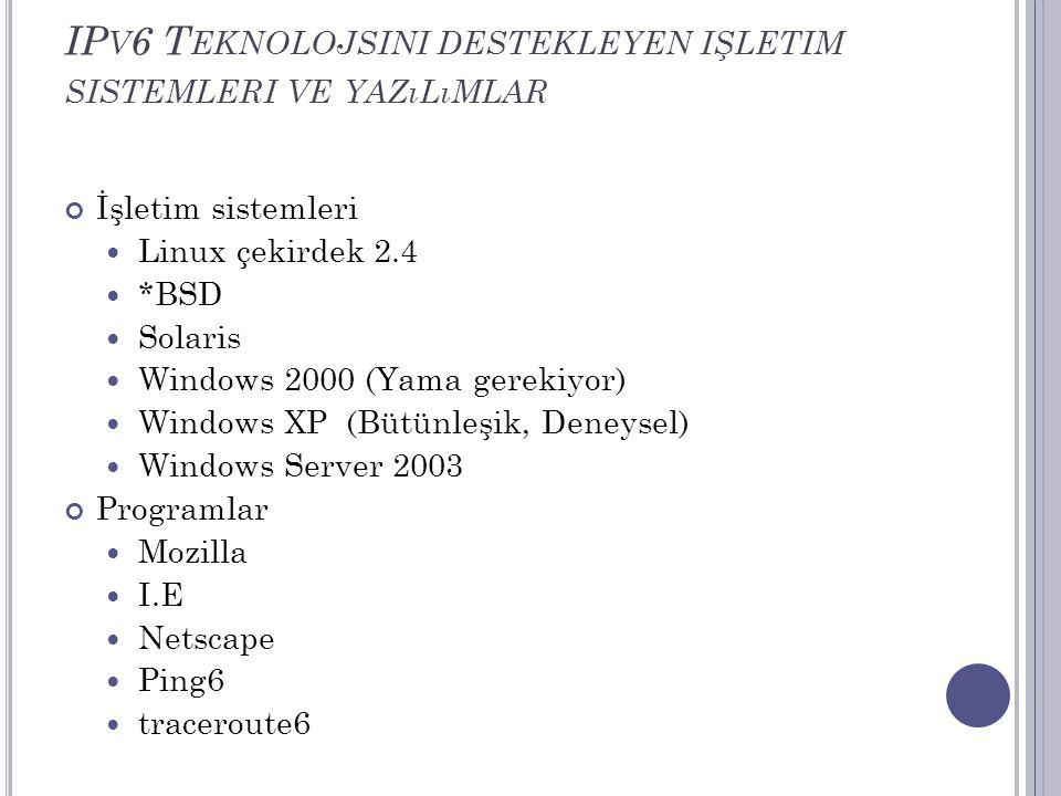 IPv6 Teknolojsini destekleyen işletim sistemleri ve yazılımlar