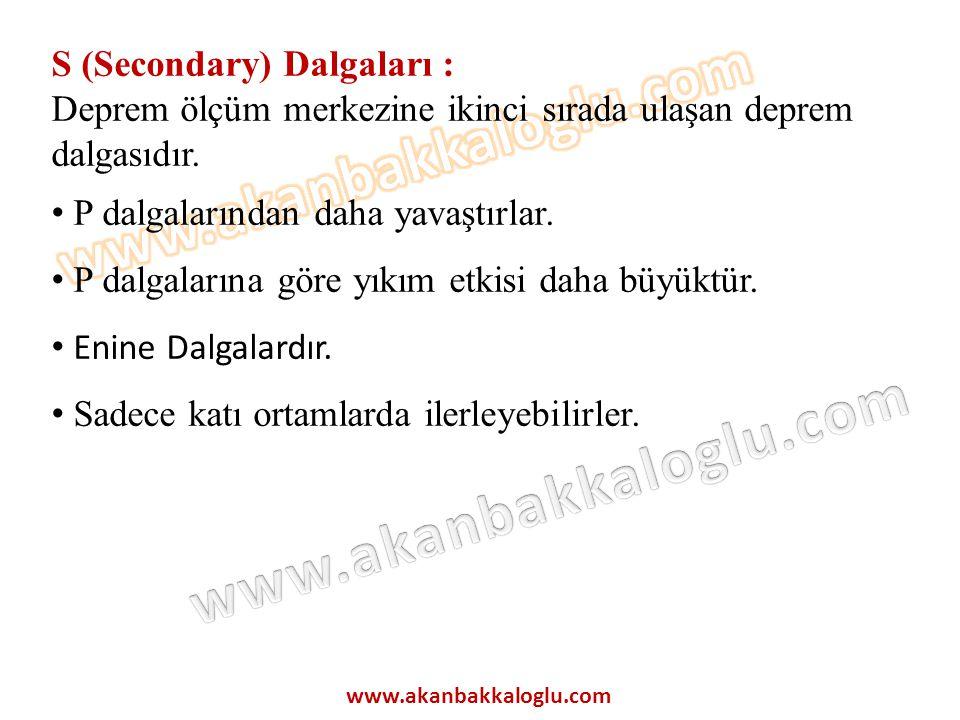 S (Secondary) Dalgaları :