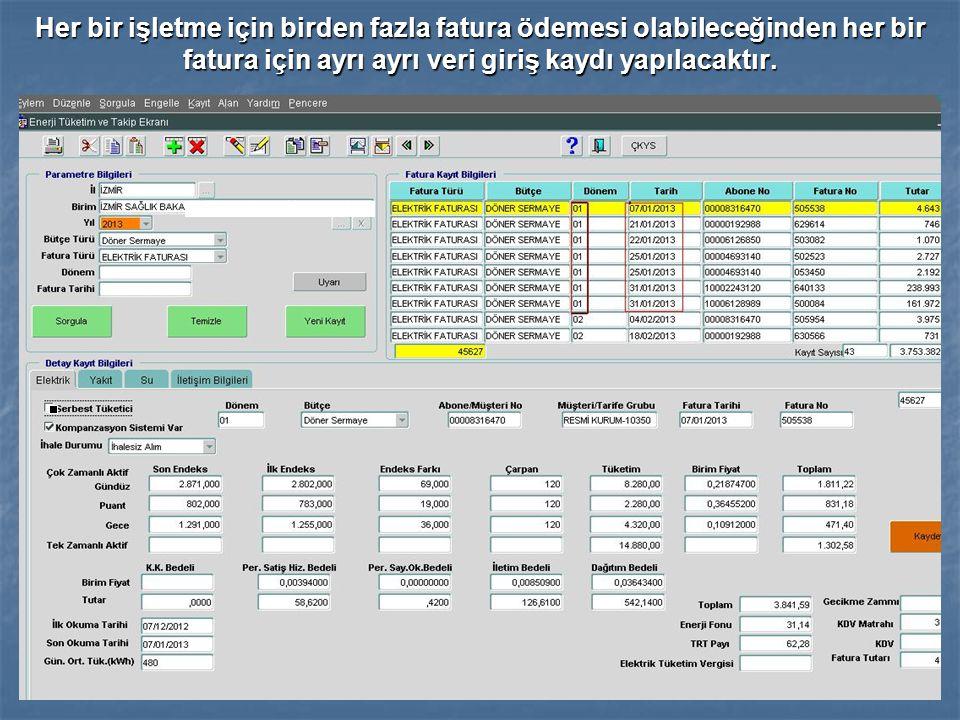 Her bir işletme için birden fazla fatura ödemesi olabileceğinden her bir fatura için ayrı ayrı veri giriş kaydı yapılacaktır.