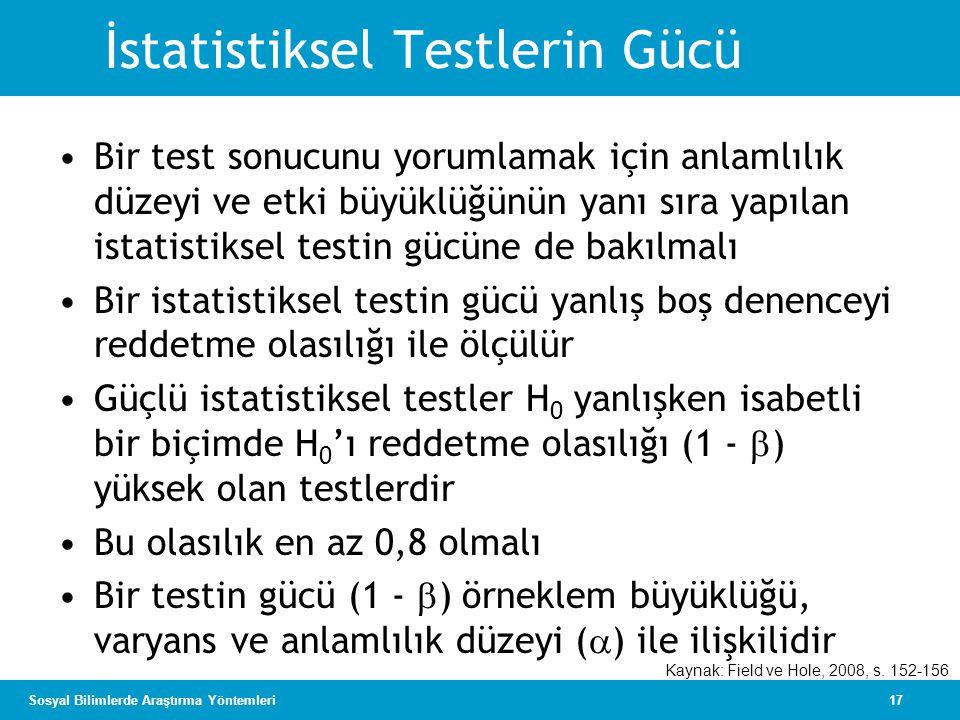İstatistiksel Testlerin Gücü