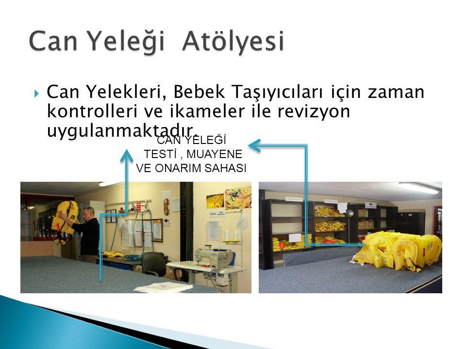 Can Yeleği Atölyesi Can Yelekleri, Bebek Taşıyıcıları için zaman kontrolleri ve ikameler ile revizyon uygulanmaktadır.