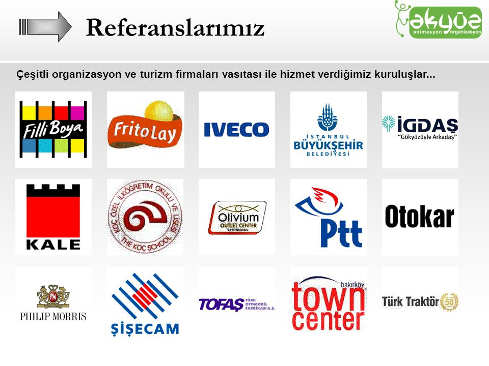 Referanslarımız Çeşitli organizasyon ve turizm firmaları vasıtası ile hizmet verdiğimiz kuruluşlar...
