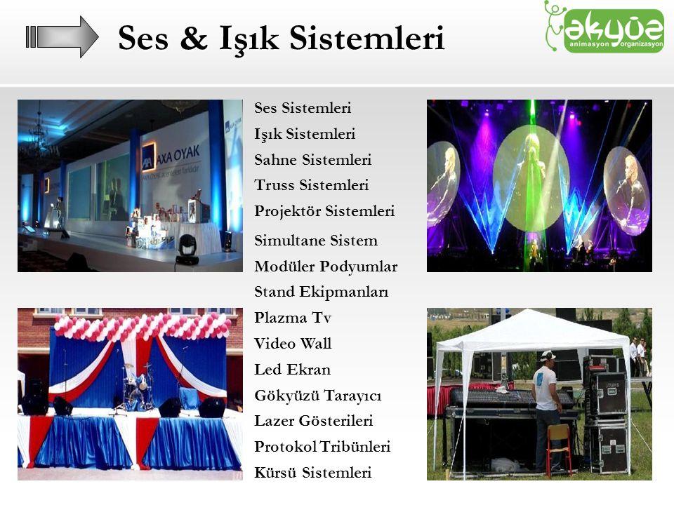 Ses & Işık Sistemleri Ses Sistemleri Işık Sistemleri Sahne Sistemleri