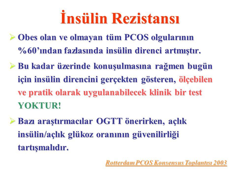 İnsülin Rezistansı Obes olan ve olmayan tüm PCOS olgularının %60'ından fazlasında insülin direnci artmıştır.