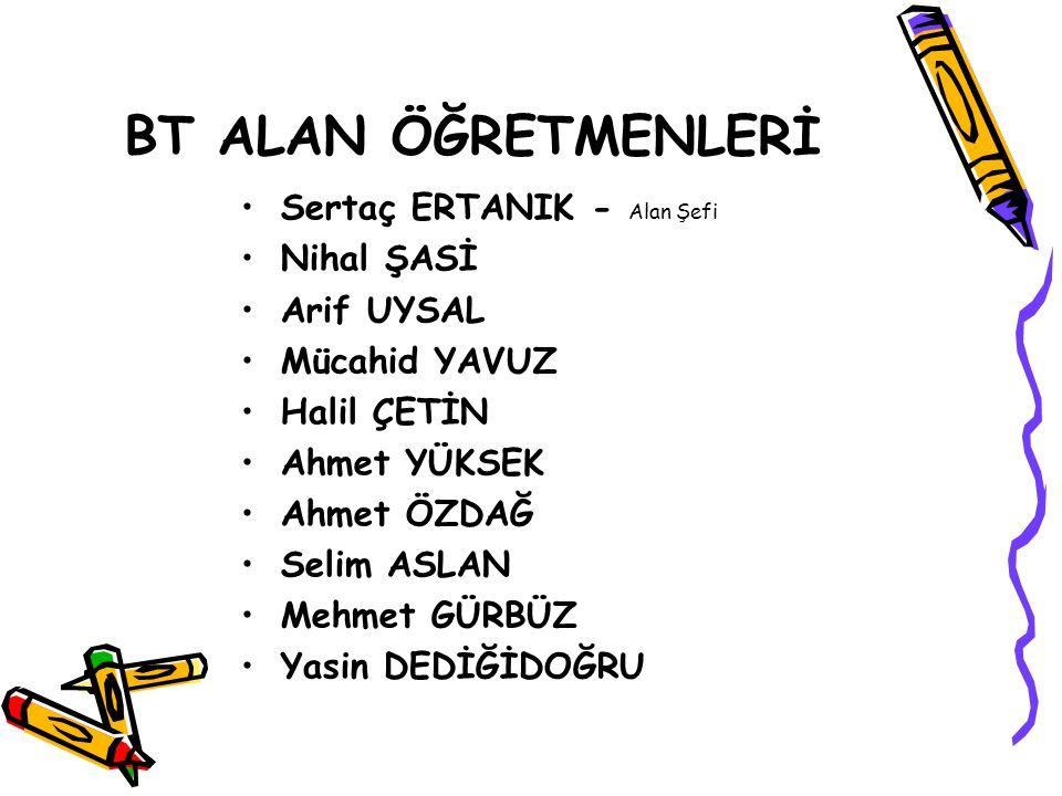 BT ALAN ÖĞRETMENLERİ Sertaç ERTANIK - Alan Şefi Nihal ŞASİ Arif UYSAL