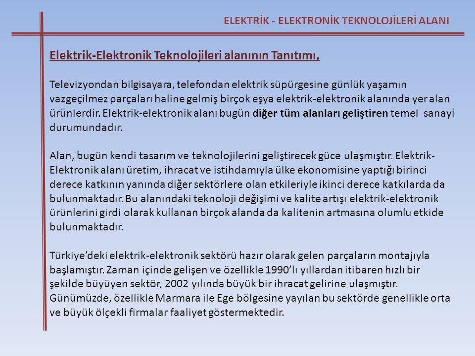 Elektrik-Elektronik Teknolojileri alanının Tanıtımı,