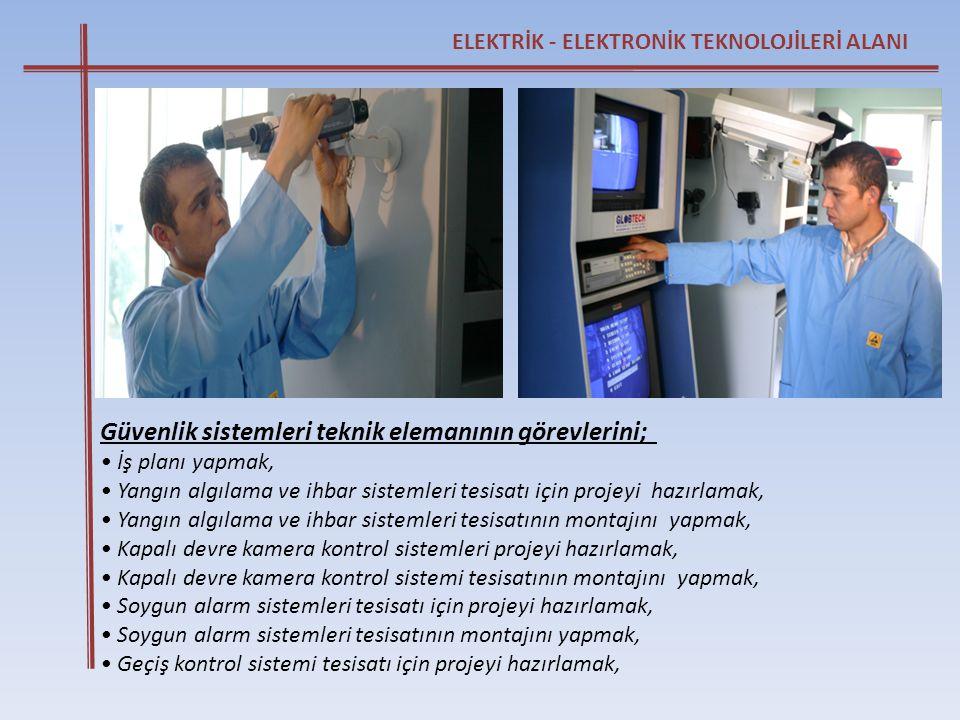 Güvenlik sistemleri teknik elemanının görevlerini;