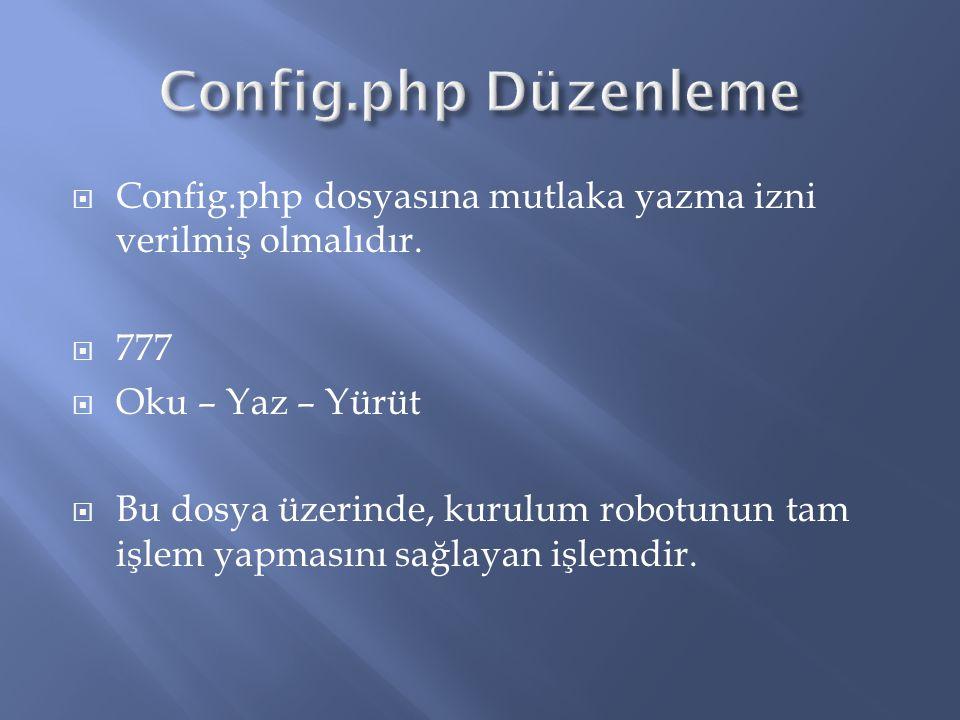 Config.php Düzenleme Config.php dosyasına mutlaka yazma izni verilmiş olmalıdır. 777. Oku – Yaz – Yürüt.