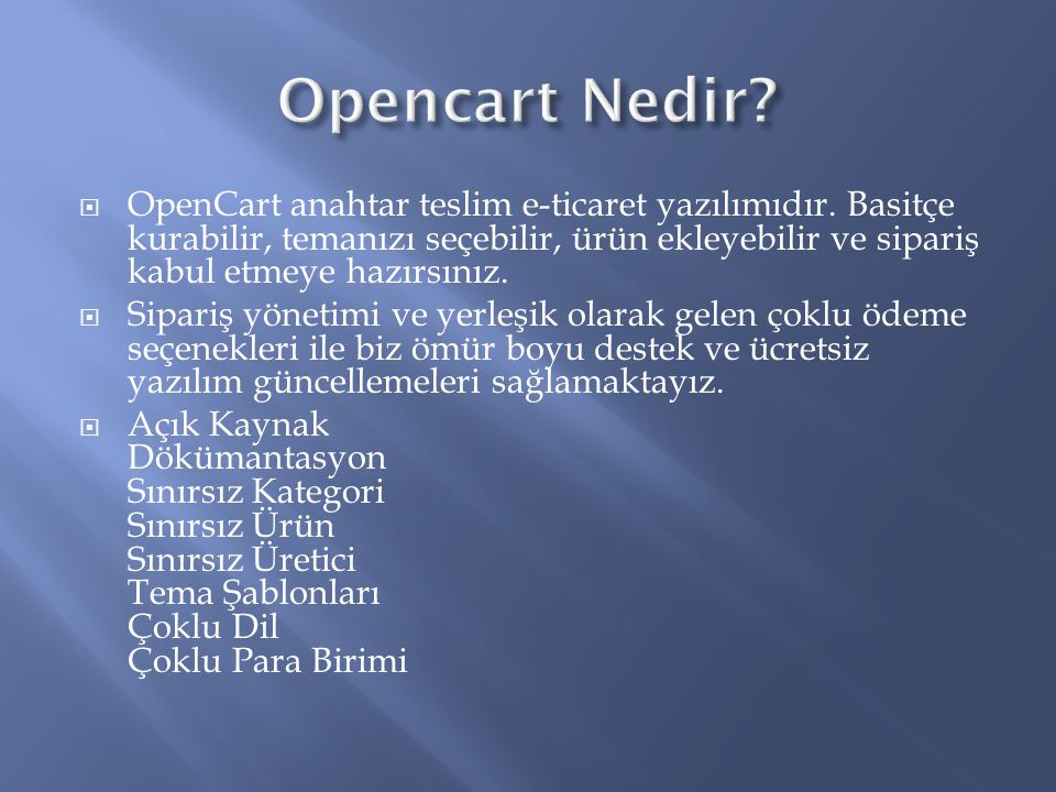 Opencart Nedir