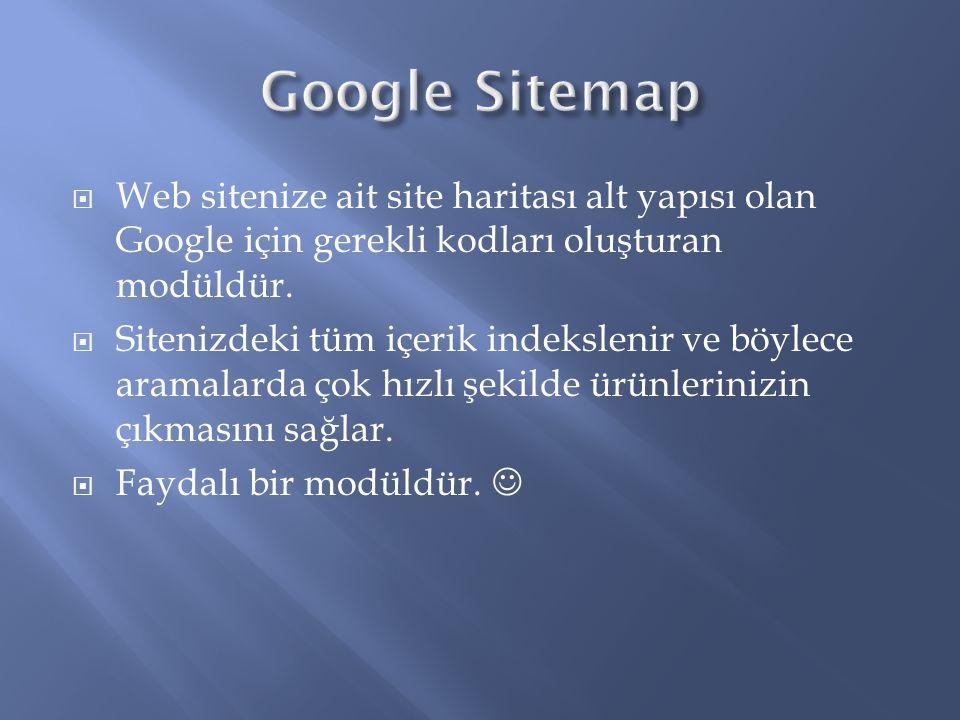 Google Sitemap Web sitenize ait site haritası alt yapısı olan Google için gerekli kodları oluşturan modüldür.