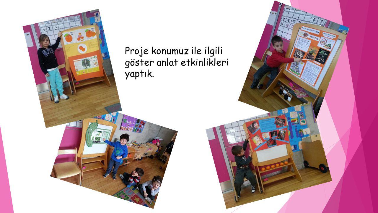 Proje konumuz ile ilgili göster anlat etkinlikleri yaptık.