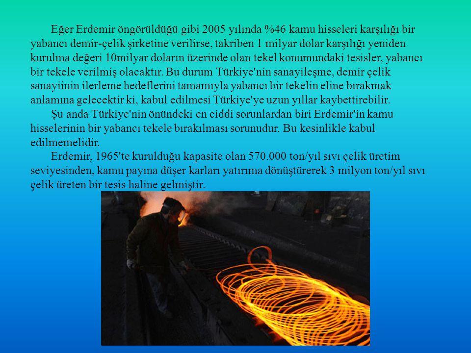 Eğer Erdemir öngörüldüğü gibi 2005 yılında %46 kamu hisseleri karşılığı bir yabancı demir-çelik şirketine verilirse, takriben 1 milyar dolar karşılığı yeniden kurulma değeri 10milyar doların üzerinde olan tekel konumundaki tesisler, yabancı bir tekele verilmiş olacaktır. Bu durum Türkiye nin sanayileşme, demir çelik sanayiinin ilerleme hedeflerini tamamıyla yabancı bir tekelin eline bırakmak anlamına gelecektir ki, kabul edilmesi Türkiye ye uzun yıllar kaybettirebilir.