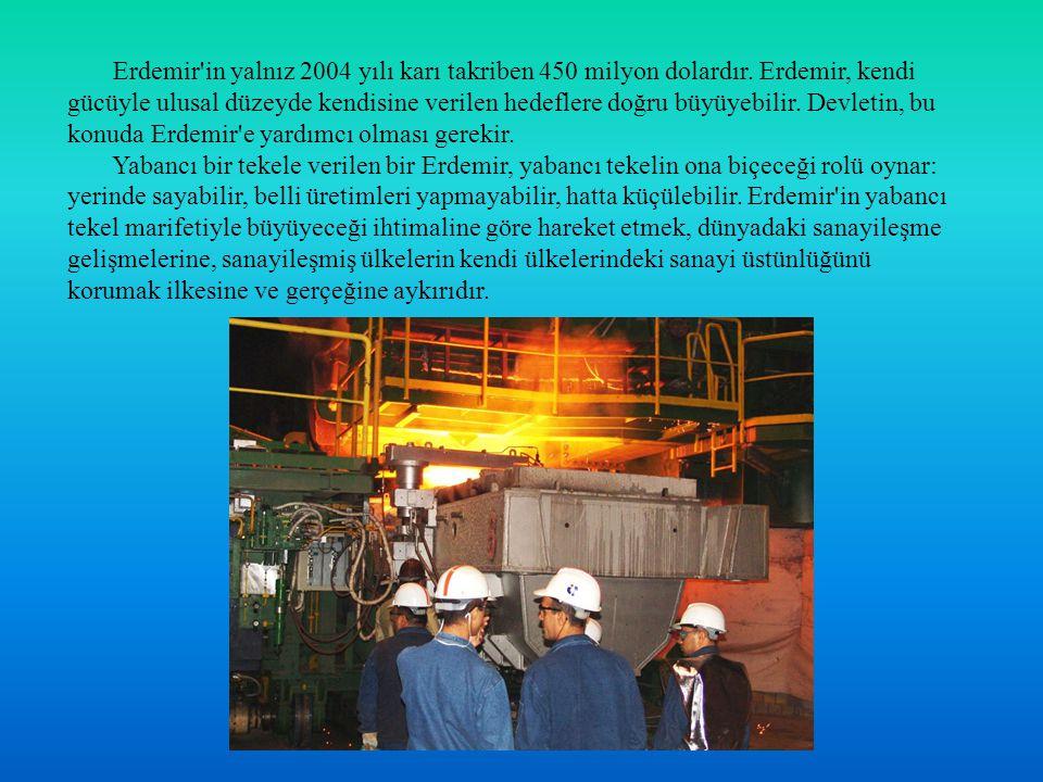 Erdemir in yalnız 2004 yılı karı takriben 450 milyon dolardır