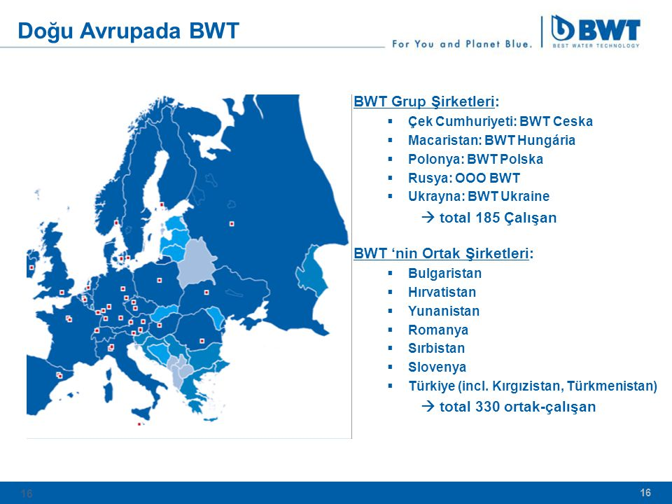 Doğu Avrupada BWT BWT Grup Şirketleri:  total 185 Çalışan