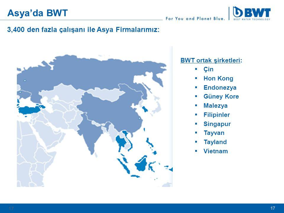 Asya'da BWT 3,400 den fazla çalışanı ile Asya Firmalarımız: