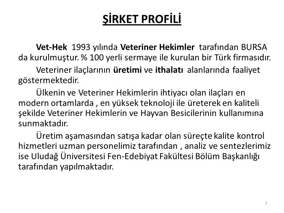 ŞİRKET PROFİLİ Vet-Hek 1993 yılında Veteriner Hekimler tarafından BURSA da kurulmuştur. % 100 yerli sermaye ile kurulan bir Türk firmasıdır.
