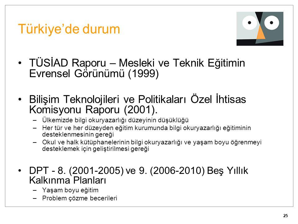 Türkiye'de durum TÜSİAD Raporu – Mesleki ve Teknik Eğitimin Evrensel Görünümü (1999)