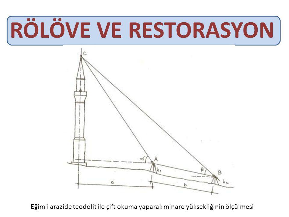 RÖLÖVE VE RESTORASYON Eğimli arazide teodolit ile çift okuma yaparak minare yüksekliğinin ölçülmesi.