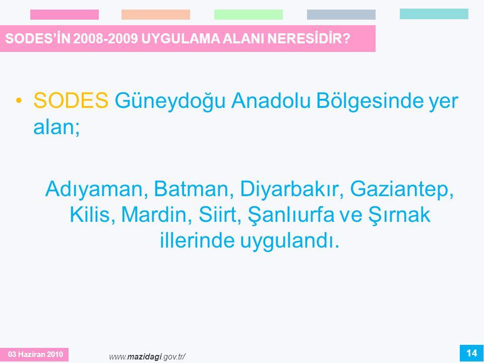 SODES'İN 2008-2009 UYGULAMA ALANI NERESİDİR