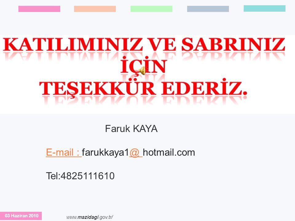 E-mail : farukkaya1@ hotmail.com Tel:4825111610