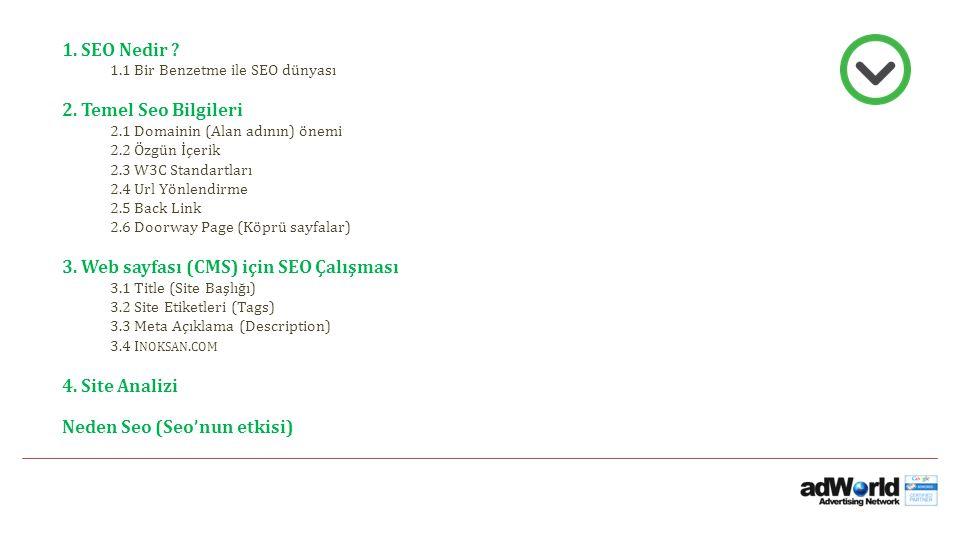 3. Web sayfası (CMS) için SEO Çalışması