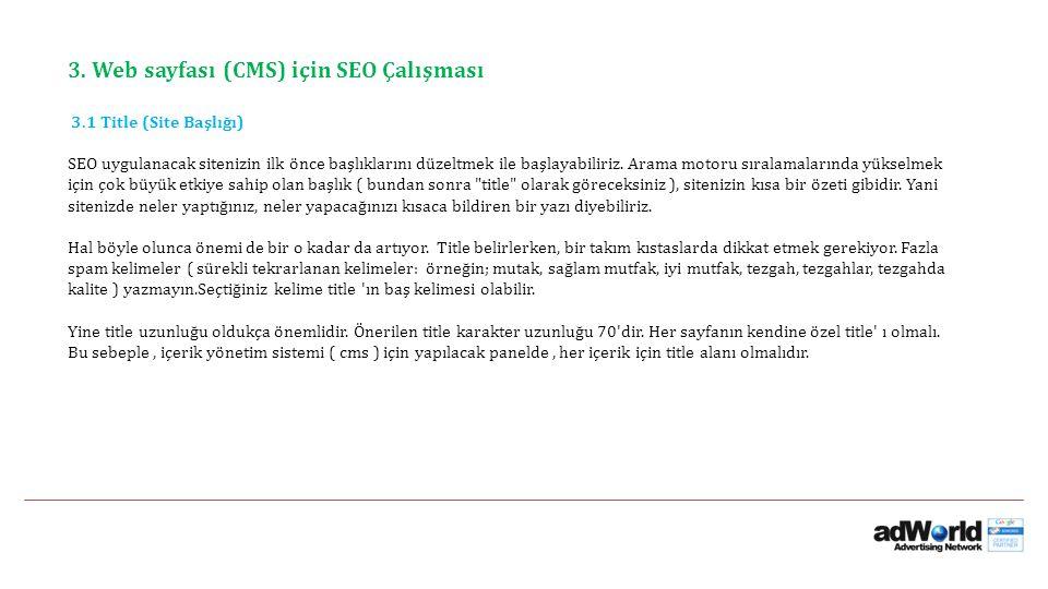 3. Web sayfası (CMS) için SEO Çalışması 3.1 Title (Site Başlığı)