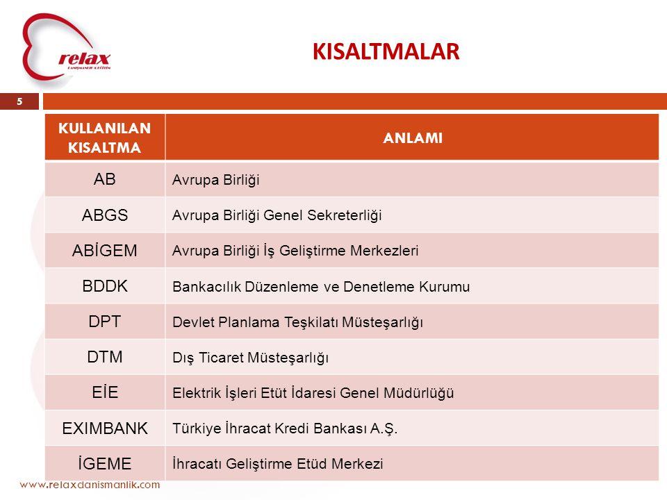 KISALTMALAR KULLANILAN KISALTMA ANLAMI AB ABGS ABİGEM BDDK DPT DTM EİE