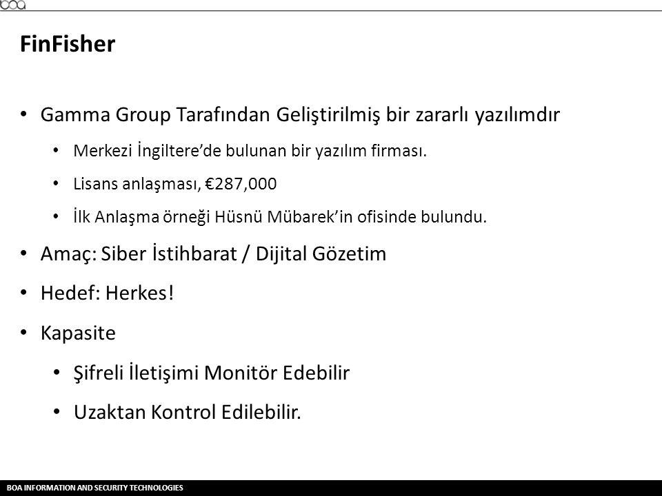 FinFisher Gamma Group Tarafından Geliştirilmiş bir zararlı yazılımdır