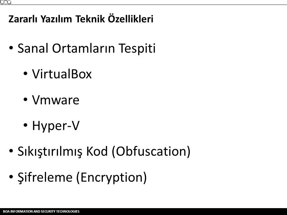 Sanal Ortamların Tespiti VirtualBox Vmware Hyper-V