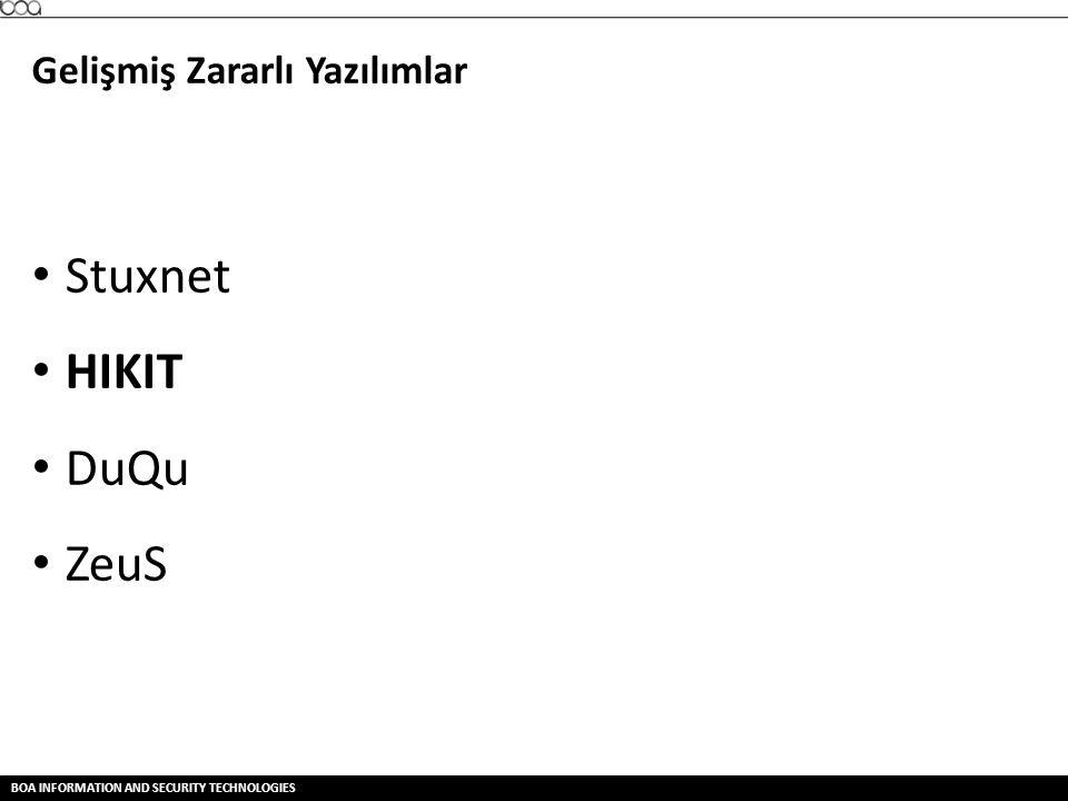 Stuxnet HIKIT DuQu ZeuS Gelişmiş Zararlı Yazılımlar Stuxnet SCADA