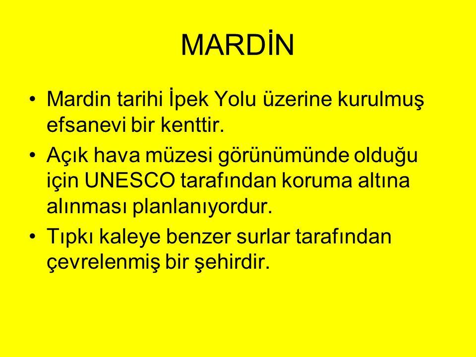 MARDİN Mardin tarihi İpek Yolu üzerine kurulmuş efsanevi bir kenttir.