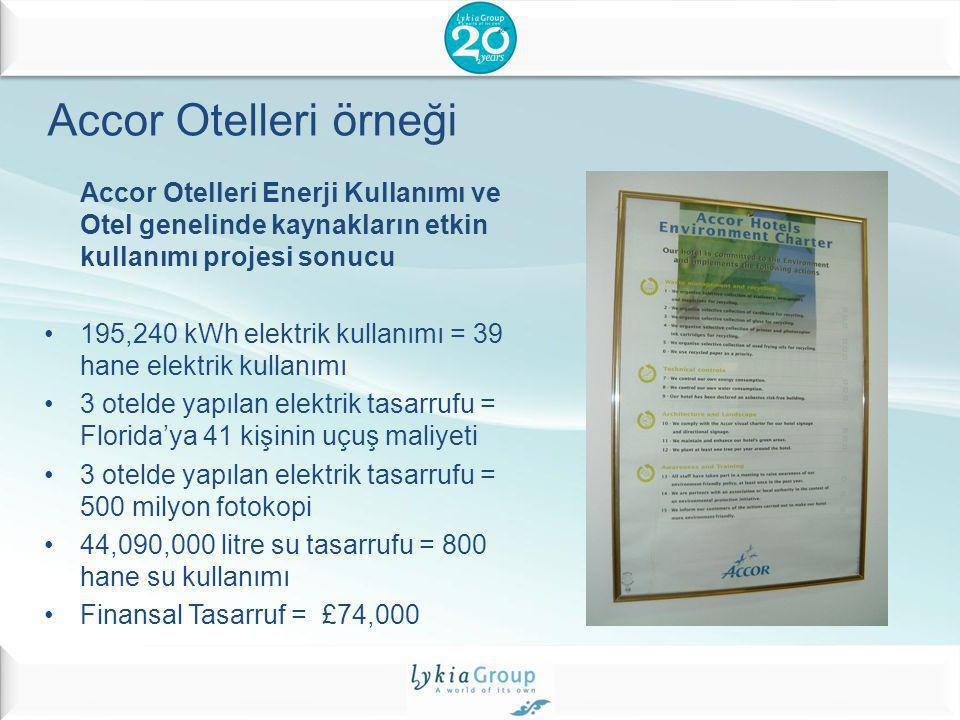 Accor Otelleri örneği Accor Otelleri Enerji Kullanımı ve Otel genelinde kaynakların etkin kullanımı projesi sonucu.