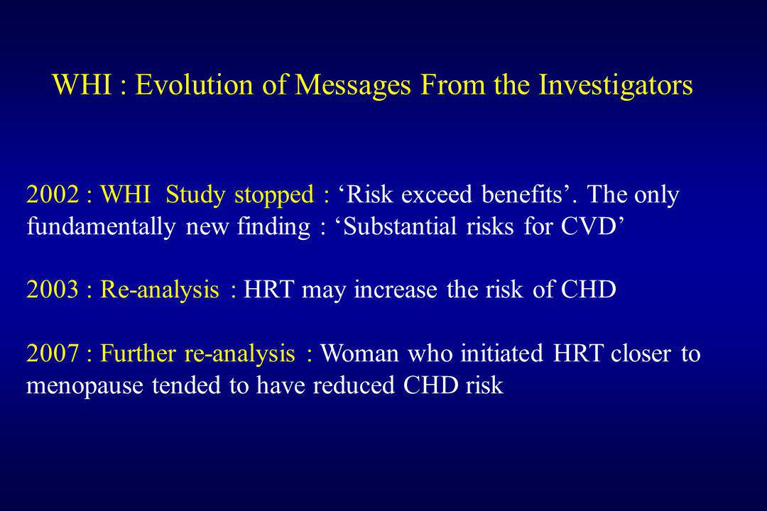 WHI : Evolution of Messages From the Investigators