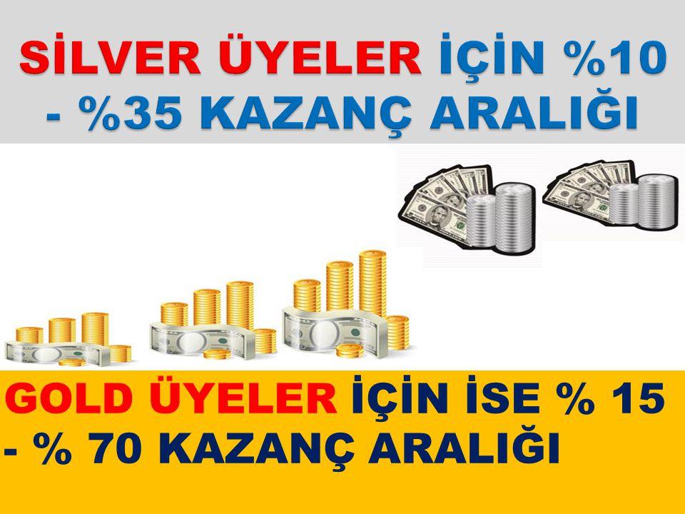 SİLVER ÜYELER İÇİN %10 - %35 KAZANÇ ARALIĞI