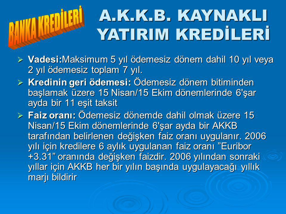 A.K.K.B. KAYNAKLI YATIRIM KREDİLERİ