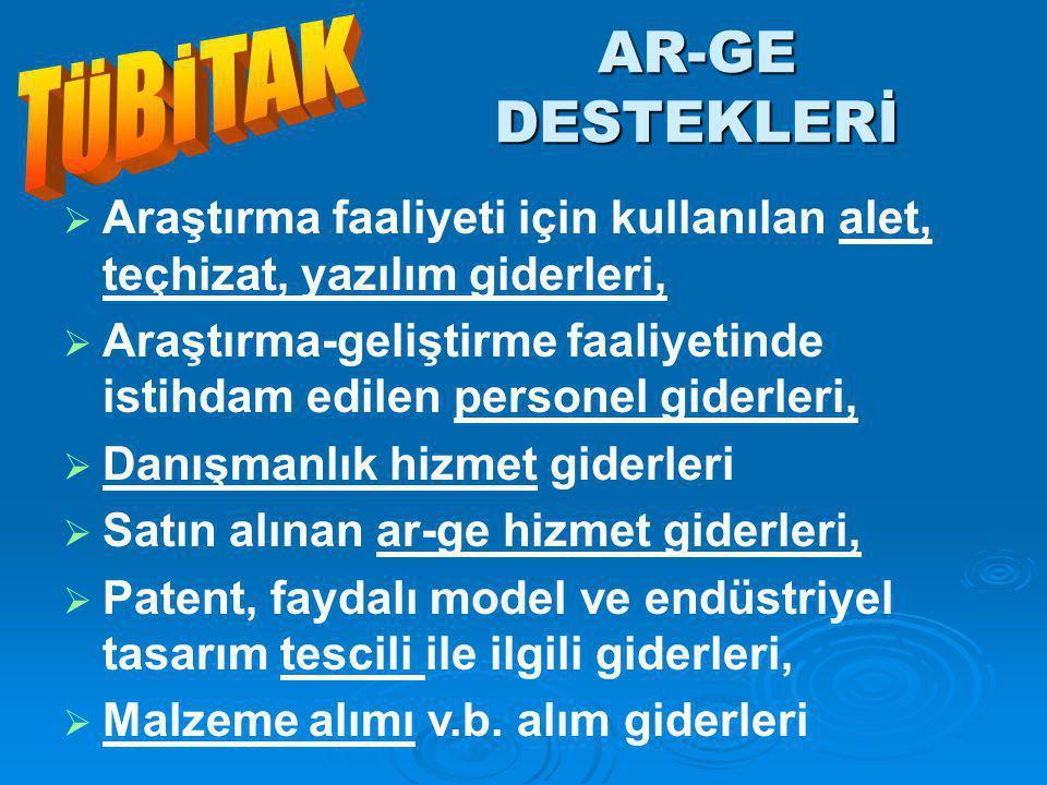 AR-GE DESTEKLERİ TÜBİTAK