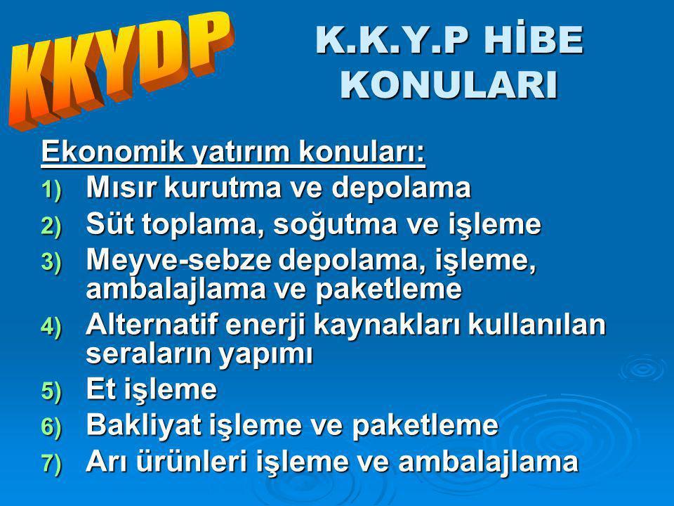 K.K.Y.P HİBE KONULARI KKYDP Ekonomik yatırım konuları: