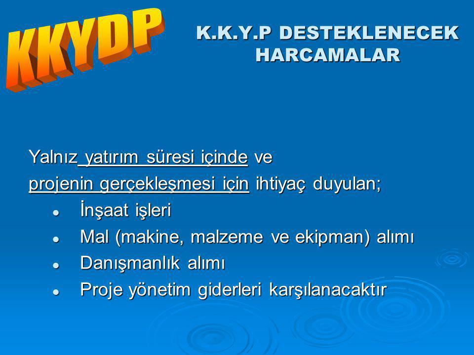 K.K.Y.P DESTEKLENECEK HARCAMALAR