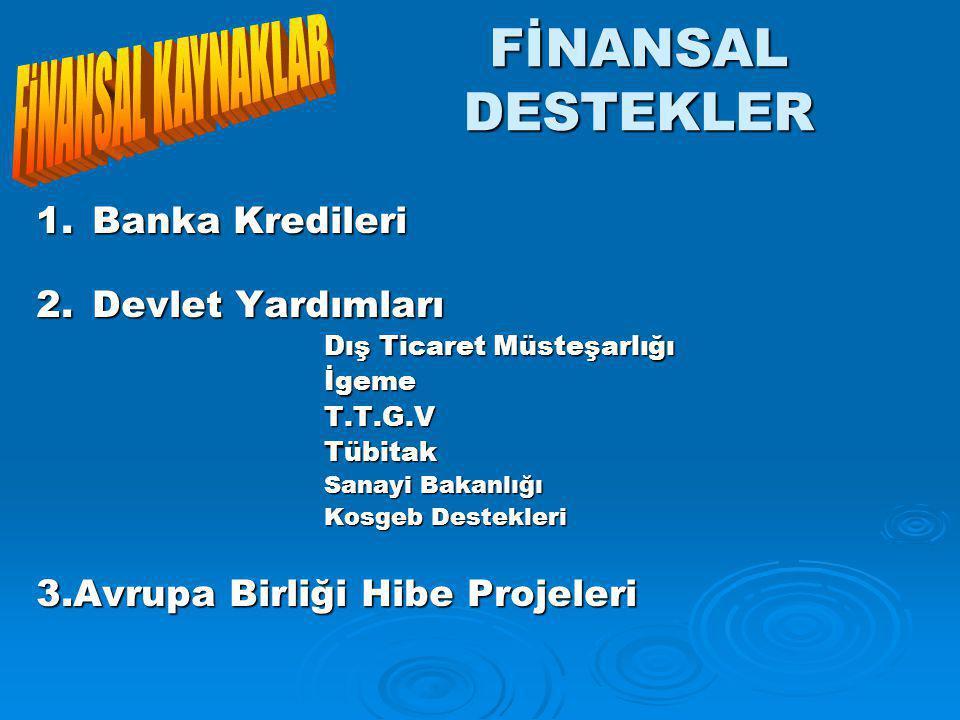 FİNANSAL DESTEKLER FİNANSAL KAYNAKLAR 1. Banka Kredileri