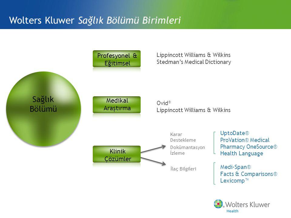 Wolters Kluwer Sağlık Bölümü Birimleri